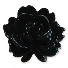 15mm BLACK Shabby Rose Resin Flatback Cabochons